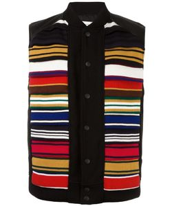 FACETASM | Contrast Stripe Vest V Calf Leather/Nylon/Cupro/Wool
