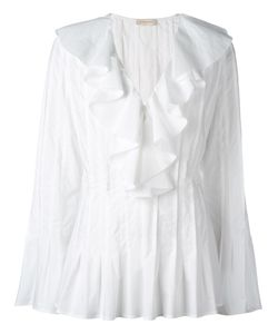 Wunderkind | Pleated Flared Blouse 42 Cotton