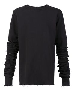 Black Fist | Ruched Sleeve Sweatshirt Medium Cotton