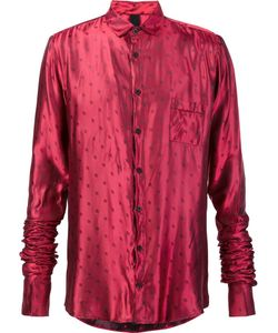 Black Fist | Dotted Ruched Sleeve Shirt Medium Silk