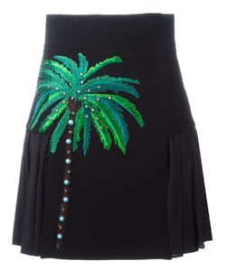 Fausto Puglisi | Embroidered Side Pleat Skirt 42 Silk/Acetate/Wool