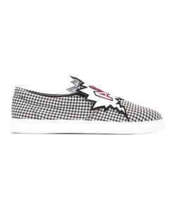 Mira Mikati   Checked Slip-On Sneakers 38 Cotton/Leather/Rubber