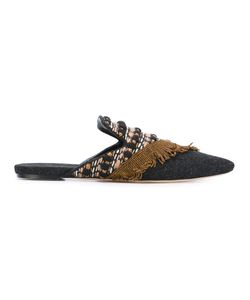 SANAYI 313 | La Scala Embroidered Slippers 39 Cotton/Leather