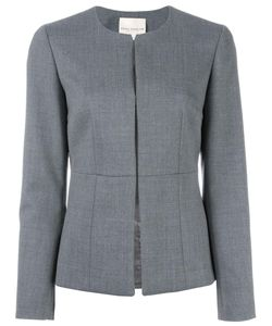 Erika Cavallini | Collarless Fitted Jacket 42 Polyester/Spandex/Elastane/Virgin Wool