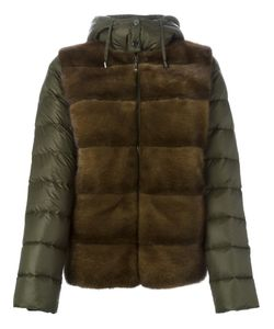 P.A.R.O.S.H. | Quarter Fur Panel Padded Jacket Large Feather