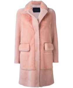 Blancha | Buttoned Mid-Length Coat 40 Leather/Mink Fur