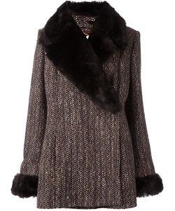 Celine Vintage   Céline Vintage Removable Faux Fur Collar Coat 46