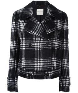 Emanuel Ungaro | Plaid Double-Breasted Jacket 44 Cotton/Polyamide/Polyester/Alpaca