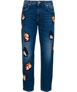 MSGM | Patch Detail Cropped Jeans 40 Cotton/Polyester