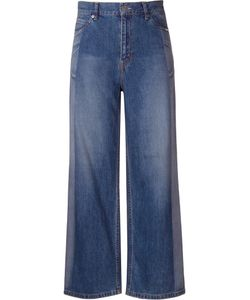 Serge De Blue | Two-Tone Wide Leg Jeans 38 Cotton