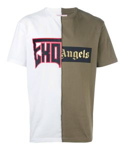 PALM ANGELS | Bicolour Printed T-Shirt Mens Size Large Cotton
