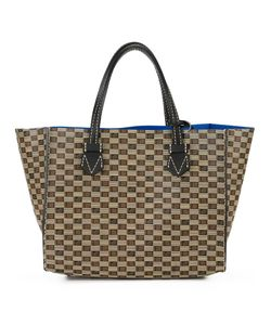 Moreau | Double Handles Checked Tote