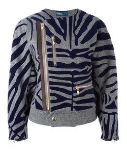Kolor | Zebra Print Biker Jacket 3 Nylon/Polyester/Polypropylene/Wool
