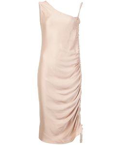 Barbara Casasola | Asymmetric Shoulder Mid Dress 44 Silk