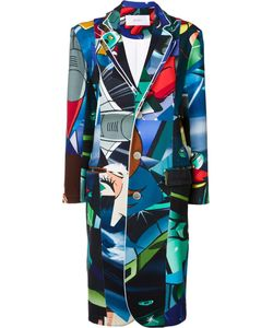 Julien David | -Print Buttoned Coat Medium Cotton/Polyurethane