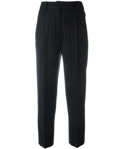 Alberto Biani | Pinstriped Pleated Tapered Trousers 44 Cotton/Spandex/Elastane/Cashmere/Virgin