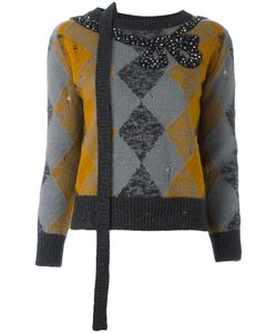 Marc Jacobs | Embellished Argyle Knit Jumper Medium Polyester/Cashmere/Wool/Glass