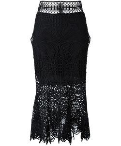 Jonathan Simkhai   Bridge Lace Trumpet Skirt 4 Silk/Polyester/Spandex/Elastane