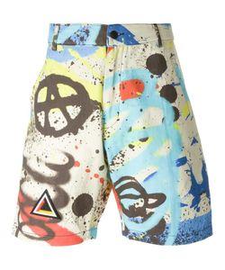 Ktz | Graffiti Print Shorts Large Cotton