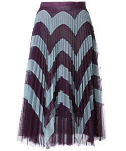 Mary Katrantzou | Zig-Zag Print Pleated Skirt 12 Polyester