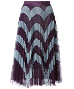 Mary Katrantzou | Zig-Zag Print Pleated Skirt 12 Polyester