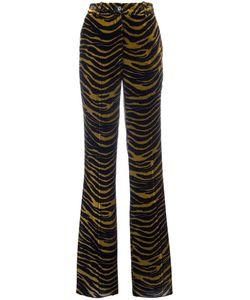 Roberto Cavalli | Tiger Print Flared Pants 42 Silk/Cotton/Viscose
