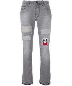 +people | Face Patch Bootcut Jeans 25 Cotton/Spandex/Elastane