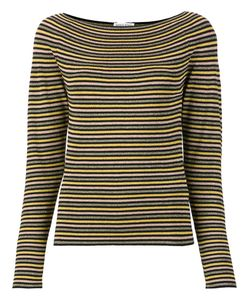 Sonia Rykiel | Boat Neck Striped Blouse Small Polyester/Viscose