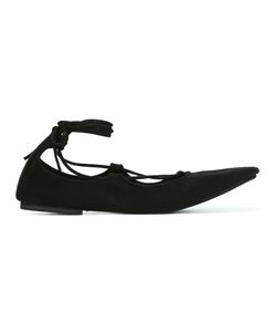 Danielapi | Ankle Strap Lace-Up Ballerinas 36 Chamois Leather/Leather