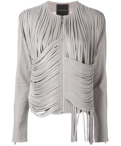 NOUR HAMMOUR | Strapped Cropped Jacket 42 Lamb Skin