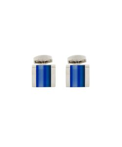 Rt By Tate Tateossian | Striped Cufflink Rhodium/Glass