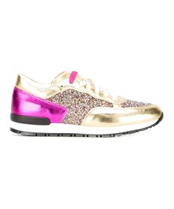 Pollini | Paneled Glitter Sneakers 37 Leather/Polyacrylic/Rubber