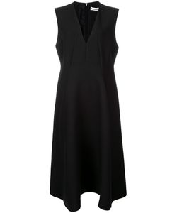 Jil Sander | Flared V-Neck Dress 38 Silk/Wool
