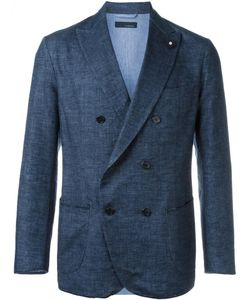 Lardini | Double-Breasted Woven Blazer 52 Cotton/Linen/Flax/Nylon/Viscose