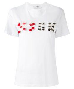 MSGM | Logo Embellished T-Shirt Small Cotton
