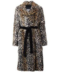 METEO BY YVES SALOMON   Leopard Print Mid Coat 38