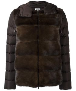 P.A.R.O.S.H. | Zipped Hooded Jacket Feather Down/Mink Fur/Polyamide/Polyester