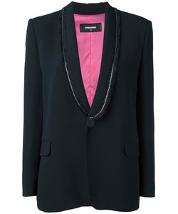 Dsquared2 | Sequin Frayed Lapel Blazer 44 Silk/Polyester/Spandex/Elastane/Glass