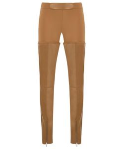 GLORIA COELHO | Leather Panels Trousers 40 Leather/Elastodiene/Polyamide