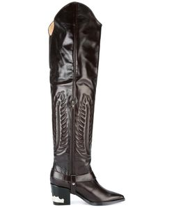 Toga | Embossed Thigh High Boots 37 Leather
