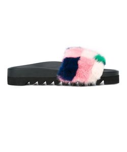 Joshua Sanders   Fur Patch Slidders 39 Leather/Mink Fur/Rubber