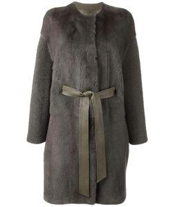 Liska | Belted Coat Small Lamb Skin/Mink Fur/Lamb Fur