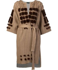Alena Akhmadullina | Collarless Belted Cardi-Coat 40 Cotton/Mink Fur/Wool/Viscose