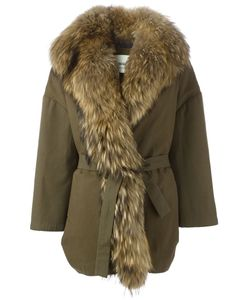 AVA ADORE | Alexa Belted Coat 40 Cotton/Acrylic/Spandex/Elastane/Racoon Fur