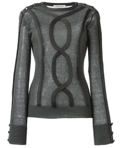 Pierre Balmain | Sheer Cable Trim Jumper 38 Acrylic/Nylon/Mohair/Wool