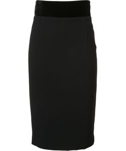 Brandon Maxwell | Contrast Waist Fitted Skirt 4 Silk/Polyester/Spandex/Elastane/Viscose