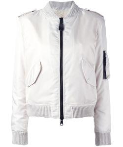 As65   Zip Up Bomber Jacket Medium Leather/Sheep Skin/Shearling/Polyamide/Viscose