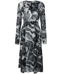 Veronique Leroy | Printed V-Neck Dress 36 Viscose