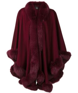 Sofia Cashmere | Trim Detail Oversized Coat Fox Fur/Cashmere
