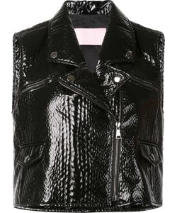 GIAMBA | Sleeveless Textured Biker Jacket 42 Acrylic/Polyester/Polyurethane/Viscose